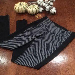 Gray and black striped leggings